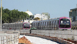 More coaches: New metro coaches arrive at Byppanahalli railway station in Bangalore on Friday. DH photo