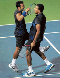 WINNERS' DANCE: Leander Paes (left) and Mahesh Bhupathi are eager to prove a point at the Australian Open.