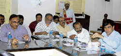 Deputy Commissioner Manoj Kumar Meena addresses a preparatory meeting convened to discuss the first phase of pulse polio vaccination drive in Kolar on Monday.