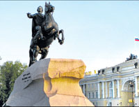 national hero The Bronze Horseman in St Petersburg. photo by author
