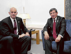 visionary Turkish Foreign Minister Ahmet Davutoglu (right) with Greek Prime Minister George Papandreou in Greece in December 2009.