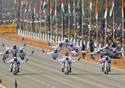 Indian Border Security Force (BSF) soldiers perform motorcycle stunts during the Republic Day parade in New Delhi. AFP