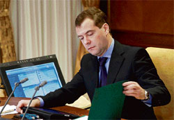 New strategy: Russian President Dmitry Medvedev at a meeting at the Gorki presidential residence in Moscow on Wednesday. AP