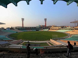 Renovation work in progress at Eden Garden in Kolkata on Friday. The ICC has ruled out the World Cup match between India and England on February 27 at the stadium. PTI
