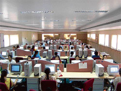 IT professionals working at the CBaySystems facility in Bangalore.