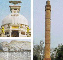GLORIOUS PAST (Clockwise from above) The Peace Pagoda; Ashoka Pillar near the pagoda; statue of the sleeping Buddha inside the pagoda in Dhauligiri Hills, Orissa. Photos by author