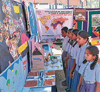 New faces: Student's participating in an exhibition organised as part of 'Mysuru Habba' organised by Children's Movement for Civic Awareness (CMCA) in Mysore on Saturday. DH photo