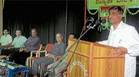 Principal of Sarada Vilas B Ed College Prof H S Umesh addressing the audience at 'Sampratibhotsava'  held in Mysore on Tuesday. Vice President of Students' Forum C Sharath, members of Management Committee S Ravishankar, S Shiva, Honourary Secretary S Krishnamurthy and Principal Dr A S Ashok Kumar are seen. DH photo