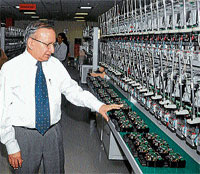 IndustrY: Senior Vice President, L&T, S C Bhargava  describing about the advantages of an electronic energy meter at L&T campus in Mysore on Wednesday. DH photo