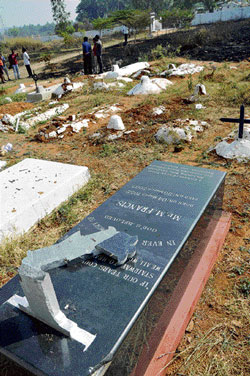 One of the graves vandalised at a cemetery in Pushpagiri on the outskirts of Mysore on Thursday. dh photo