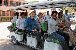 Jolly ride: Executive Director of ADB Phil Bowen on a buggy at Sri Chamarajendra Zoological Gardens, in Mysore on Saturday. He was on a private visit to the city. DH photo