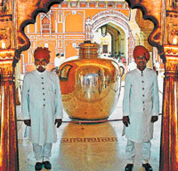 Exquisite: The historic silver jar at the Jaipur City Palace.