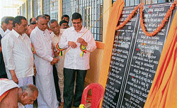 State Advocate General Ashok Haranahalli inaugurates an oldage centre 'Chaitanya Mandira' of Kamadhenu Cooperative Vidyashrama, in Hassan on Sunday. MLA H S Prakash, Patel Shivaram and others are seen.