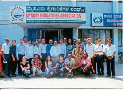 Foreign delegates seen with members of Mysore Industries Association, in Mysore recently. DH photo