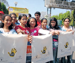 green An awareness drive on using cloth bags.