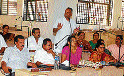 ZP member from Congress party, M S Mohammad speaking at the special meeting in Zilla Panchayat on Thursday.