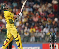 Australia's Jason Krejza reacts after being bowled for seven runs by Pakistan's Umar Gul during their Cricket World Cup match in Colombo, Sri Lanka. AP Photo