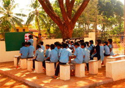 Gurukul in progress: Classes being conducted under a tree. Photo by the author