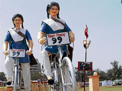 All set: Statues of school girls installed at Gandhi Maidan on the eve of Bihar Diwas in Patna on Monday. PTI