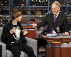 Light moment Justin Bieber and David Letterman.