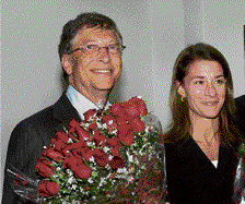 Microsoft founder Bill Gates and wife Melinda in New Delhi on Tuesday. PTI
