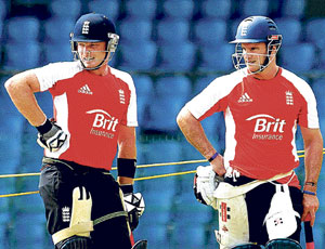 PONDERING THEIR CHANCES: England skipper Andrew Strauss (right) and Ian Bell during a net session ahead of their World Cup quarterfinal match against  Sri Lanka in Colombo on Friday. DH Photo/ P SAMSON VICTOR