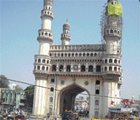 The Archaelogical Survey of India restoring a minar at Charminar in Hyderabad.