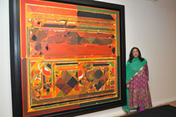Path-breaking: Kiran Nadar with one of the art exhibits in the newly opened museum. PHOTOS BY AUTHOR