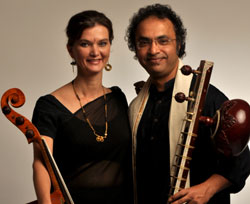 Made for each other Saskia and Shubhendra Rao with their instruments PHOTOS BY AUTHOR