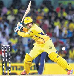 Chennai Super Kings' Anirudha Srikkanth en route to his half-century against Kolkata Knight Riders. PTI