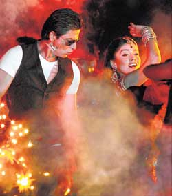 Shah Rukh Khan and Shriya Saran set the stage afire during the IPL opening ceremony in Chennai on Friday. AP