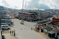 A view of the private bus stand in Madikeri. DH PHOTO