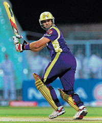 MATCH-WINNER: Kolkata Knight Riders' Jacques Kallis plays one to the leg side during his knock of 53 against  Deccan Chargers in the Indian Premier League match in Kolkata on Monday. AFP