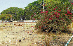 Attention: Waste and garbage is found littered around the premises of the Travellers' Bungalow in Chikkaballapur. DH PHOTO