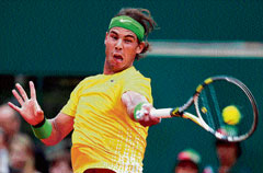 King of clay: World number one Rafael Nadal essays a forehand during his win over  Frenchman Richard Gasquet in the Monte Carlo Masters on Thursday. Reuters