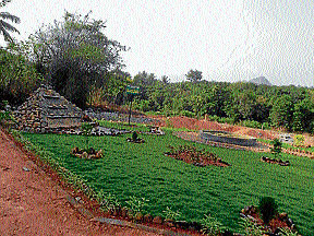 A view of the garden next to the waste disposal unit at Shivagiri in Laila Gram Panchayat in Belthangady taluk.