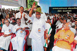 For a cause: Kerala Chief Minister V S Achuthanandan waves during a day-long fast in  Thiruvananthapuram on Monday. PTI