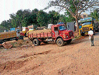 A dh file photo of sand laden lorries seized during a raid by the district administration, in Mysore recently.
