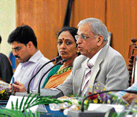 grim reality: Justice Shivaraj Patil, Chairman of Core Committee for Prevention of Child Marriage chairing over a meeting, at ZP hall in Mysore on Thursday. DH Photo