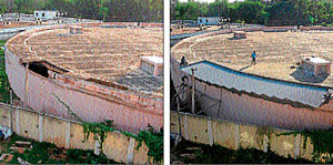 FROM L TO R : The roof of Yadavagiri reservoir which collapsed  recently. The repaired portion . DH photos