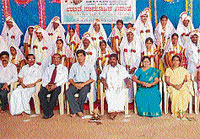 As many as 14 couples entered wedlock at a mass marriage programme jointly organised by Sullia taluk administration, Kukke Shri Subramanya temple, Sullia Sri Channakeshava temple and various other organisations in Sullia recently.