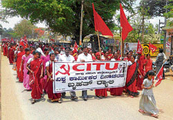Struggle continues: Members of various labour organisations participated in the May Day rally under the banner of CITU in Chikkaballapur on Sunday. DH Photos