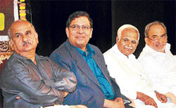 From left: Information Commissioner Dr H N Krishna, Lokayukta Justice N Santosh Hegde and former Speaker Krishna at the inauguration of the Karnataka RTI Federation in Bangalore on Monday. DH photo