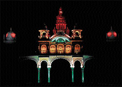 nothing controversial: The famous Ambavilas Palace in myriad of colours leaves a magnificent impression during 'Sound and Light' show , in Mysore on Friday. DH Photos
