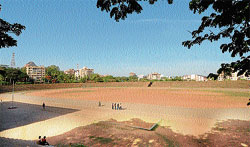 A partial view of the synthetic track at Mangala Stadium in Mangalore.
