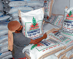Fertilisers stored in a godown in Chikmagalur. DH Photo