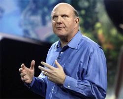 Microsoft CEO Steve Ballmer delivers his keynote address on the eve of the Consumer Electronics Show in Las Vegas - Reuters