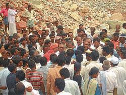 District-in-Charge Minister Suresh Kumar visiting the site where quarry was carried out                 illegally in Gedlehalli at Kadur in Chikmagalur on Saturday.