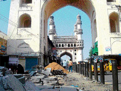 Walkway work going on at snail's pace at Charminar. DH photo