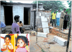 lives cut short: Nagaraj and Venkatalakshmi (inset) were killed when a cement pillar in front of their house at  Papareddypalya in the City crashed on Saturday. dh Photo